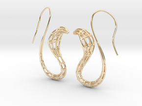 Cobra Earrings Wireframe in 14K Yellow Gold