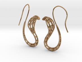 Cobra Earrings Wireframe in Polished Brass