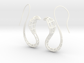 Cobra Earrings Wireframe in White Processed Versatile Plastic