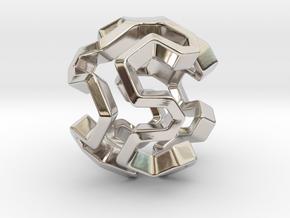 HONEYBOMB Capsule, Pendant. Sweet Explosion. in Rhodium Plated Brass