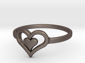 Heart Ring size 6 in Polished Bronzed Silver Steel
