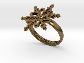 Snowflake Ring 2 d=18.5mm h35d185 in Polished Bronze