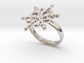 Snowflake Ring 2 d=18.5mm h35d185 in Rhodium Plated Brass