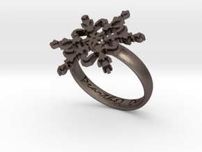 Snowflake Ring 2 d=18.5mm h35d185 in Polished Bronzed Silver Steel