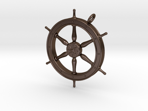 Ship's Wheel Pendant in Polished Bronze Steel