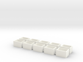 10 Pack Speaker Box Closed - 15mm x 11mm x 9mm  in White Processed Versatile Plastic