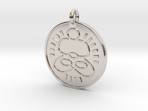 Meditation Pendant 1 in Rhodium Plated Brass