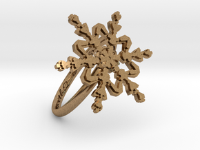 Snowflake Ring 2 d=18.5mm h21d185 in Natural Brass