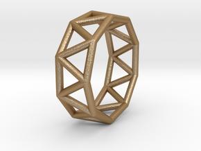0424 Nonagonal Antiprism (a=1cm) #001 in Matte Gold Steel