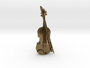 Violin and Bow Pendant in Natural Bronze