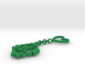 K Keychain Art Nouveau in Green Processed Versatile Plastic