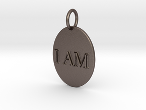 I AM Mirror Pendant in Polished Bronzed Silver Steel
