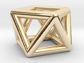 0442 Square Antiprism (a=1cm) #001 in 14K Yellow Gold