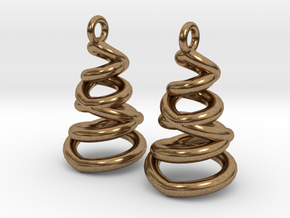 Phased Spiral Earrings in Natural Brass