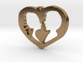 Two in Love Pendant - Amour Collection in Natural Brass