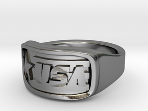 Ring USA 51mm in Fine Detail Polished Silver