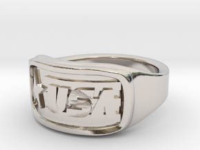 Ring USA 51mm in Rhodium Plated Brass