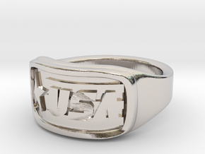 Ring USA 53mm in Rhodium Plated Brass