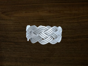 Turk's Head Knot Ring 4 Part X 11 Bight - Size 12 in White Natural Versatile Plastic