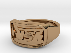 Ring USA 68mm in Polished Brass