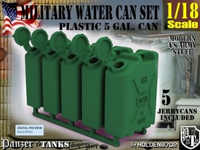 1-18 Military Water Can 5 Units in Green Processed Versatile Plastic