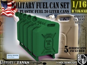 1-16 Military Fuel Can 5 Units in Green Strong & Flexible Polished
