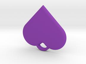 Heart Pendant in Purple Processed Versatile Plastic