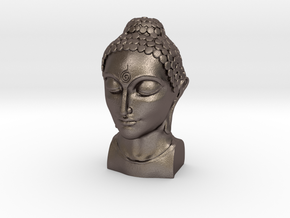 Bust of Buddha in Polished Bronzed Silver Steel