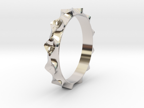 Curve  Pattern Ring- Size 6 in Platinum