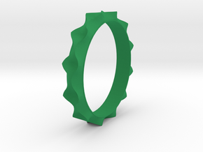 Curve  Pattern Ring- Size 6 in Green Processed Versatile Plastic
