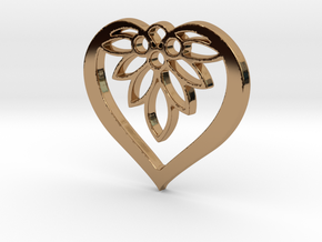Flower of my Heart Pendant - Amour Collection in Polished Brass