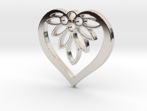 Flower of my Heart Pendant - Amour Collection in Rhodium Plated Brass