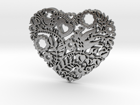 Two Birds in a Heart's Garden - Amour  in Natural Silver: Large