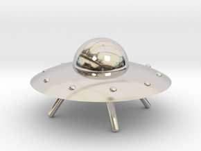 UFO with Landing Gear in Rhodium Plated Brass