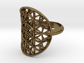 Flower of Life ring in Polished Bronze