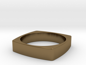 Square Ring in Polished Bronze