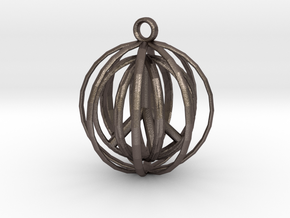 3D  Peace In A Protective Shield Pendant/Key Chain in Polished Bronzed Silver Steel