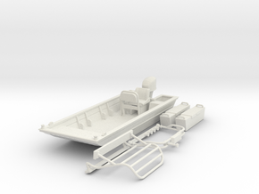 Flat Bottom Boat 01.  1:64 Scale in White Natural Versatile Plastic