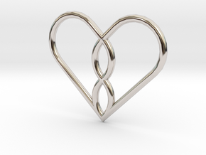 Infinity Heart Pendant in Rhodium Plated Brass