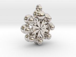 Flower Of Life In Circular Multiverse Love Engine in Rhodium Plated Brass