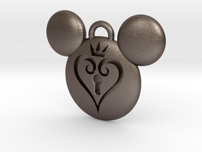 Kingdom Hearts Keychain (with keyhole) in Polished Bronzed Silver Steel