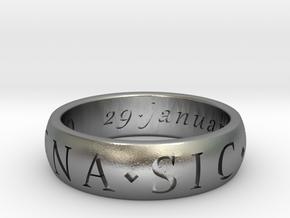 Size 9 Sir Francis Drake, Sic Parvis Magna Ring  in Natural Silver