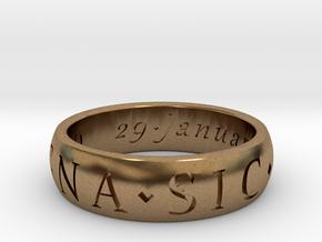 Size 9 Sir Francis Drake, Sic Parvis Magna Ring  in Natural Brass