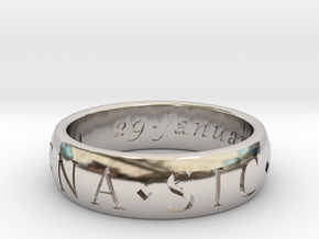 Size 9 Sir Francis Drake, Sic Parvis Magna Ring  in Platinum