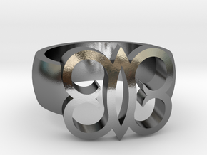 Adinkra Rings - Series 2: Hye Wo Ho Nhye in Polished Silver