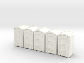 Portable Toilet 01. HO Scale (1:87) in White Processed Versatile Plastic