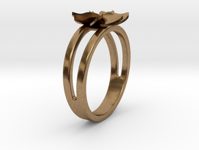 Flower Ring Size 6 in Natural Brass