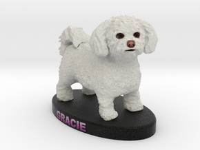 Custom Dog Figurine - Gracie in Full Color Sandstone