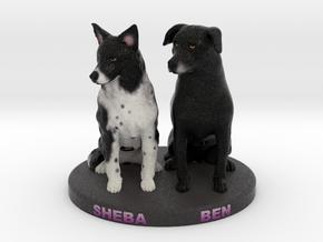 Custom Dog Figurine - Sheba and Ben in Full Color Sandstone