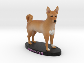 Custom Dog Figurine - Brooklyn in Full Color Sandstone